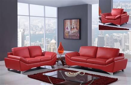 Natalie Contemporary Red Bonded Leather Living Room Set Red Leather Sofa Leather Sofa And Loveseat Leather Living Room Set