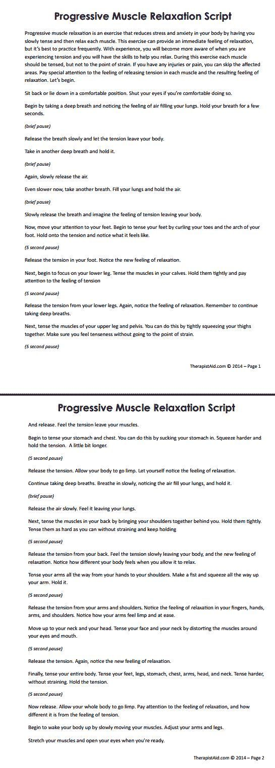 Progressive Muscle Relaxation Script One Element Of Cbt Therapy