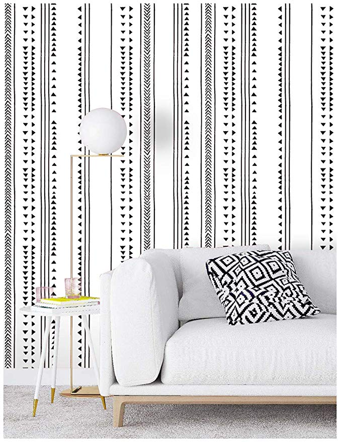 Haokhome 96021 1 Modern Triangle Peel And Stick Wallpaper Arrow Trellis Black White Vinyl Self A Peel And Stick Wallpaper Striped Room Contact Paper Decorative
