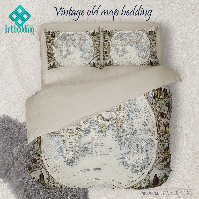 Old map bedding vintage old world map hemisphere oriental duvet old map bedding vintage old world map hemisphere oriental duvet cover set antique map gumiabroncs Gallery