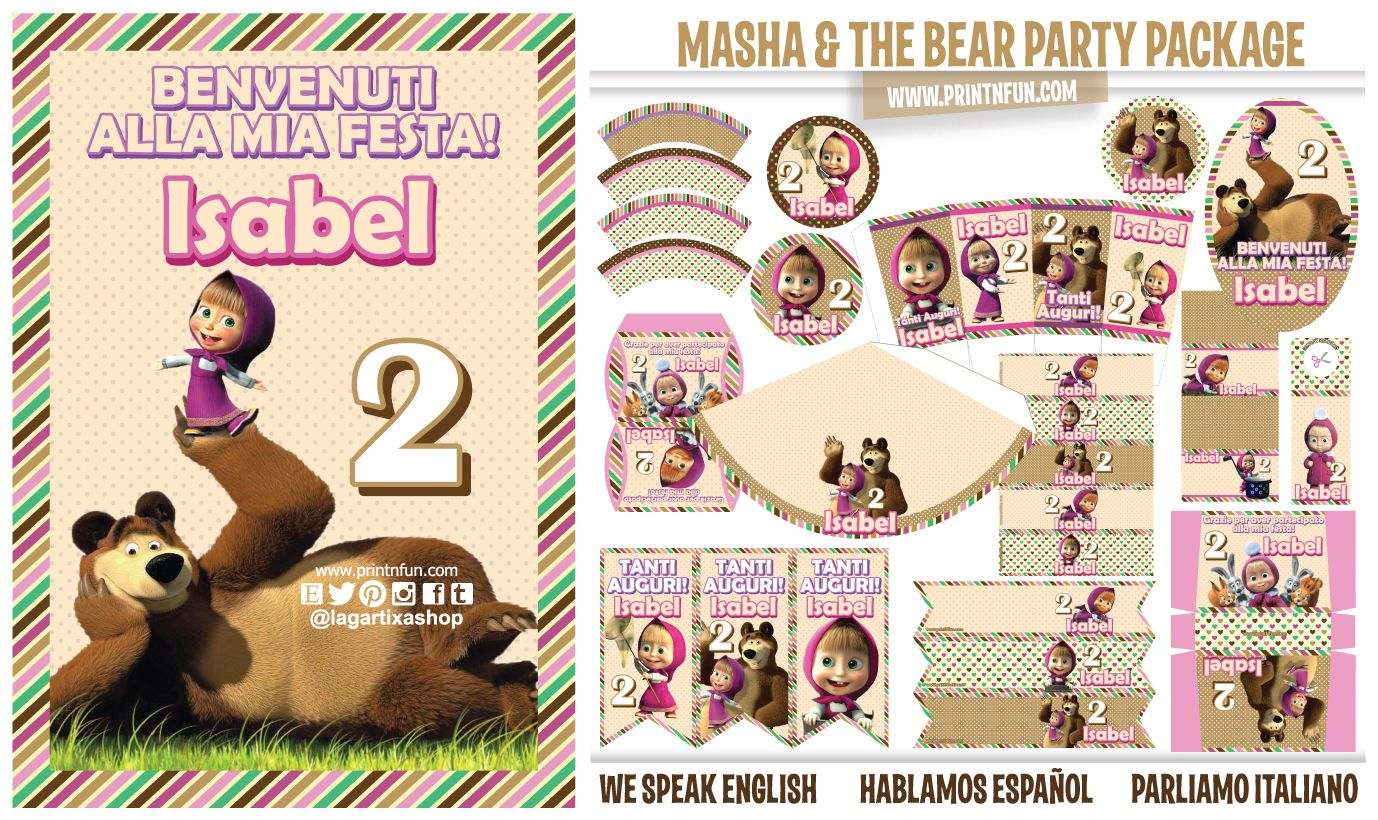 Masha And The Bear Party Printables Package Masha And The Bear Diy Party Printables Bear Party