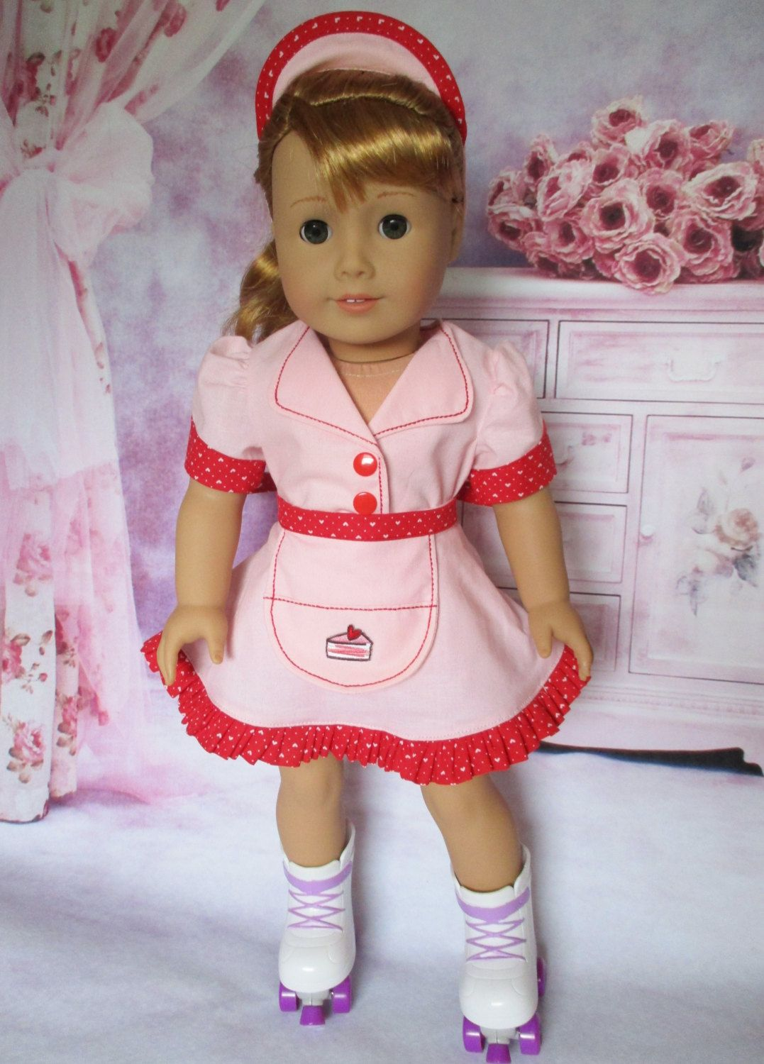 "Car Hop/Waitress Uniform fits American Girl and 18"" dolls by WeeWhimzyWardrobe on Etsy"