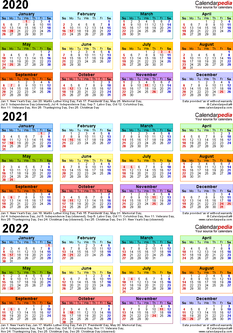 Template 3 Word Template For Three Year Calendar 2020 2022 Portrait Orientation 1 Page In Color Yearly Calendar Template Excel Calendar Editable Calendar