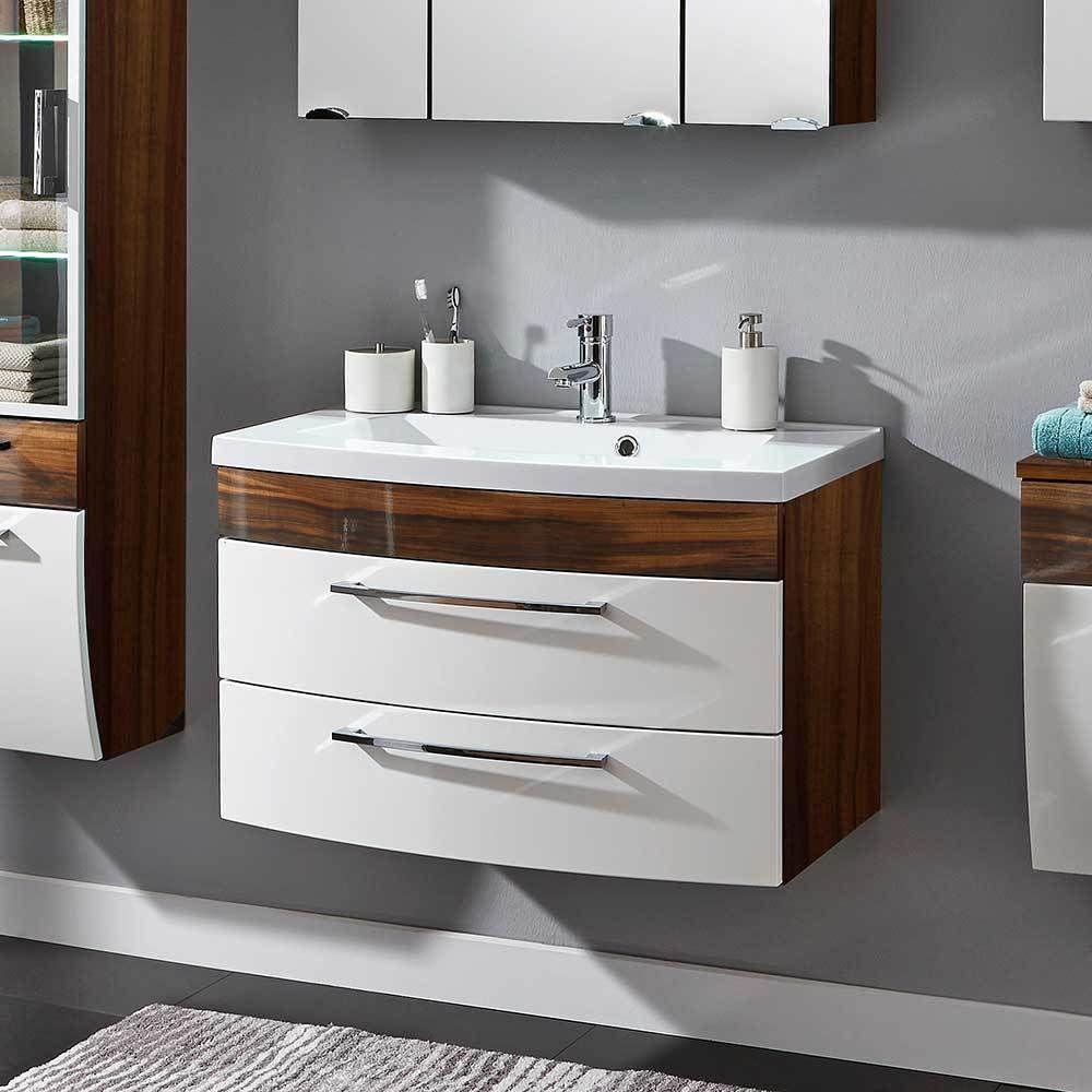 Badezimmer Waschbeckenschrank In Weiß Hochglanz Walnuss 2 Schubladen Jetzt  Bestellen Unter: Https://
