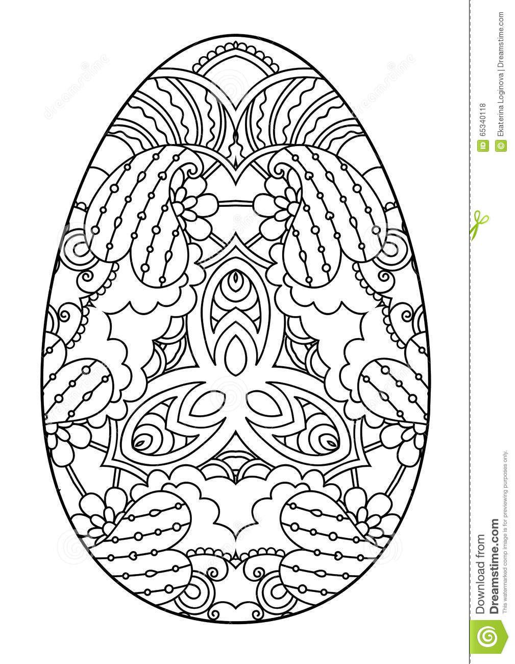 Zentangle Black White Decorative Easter Egg Vector Illustration 65340118 Jpg 1009 1300 Easter Drawings Easter Coloring Pages Mandala Coloring Pages