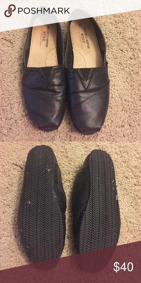 Sketchers slip resistant shoe Sketchers slip resistant shoe. Synthetic upper. Toms style shoe. Very comfy. Size 8. Skechers Shoes Flats & Loafers