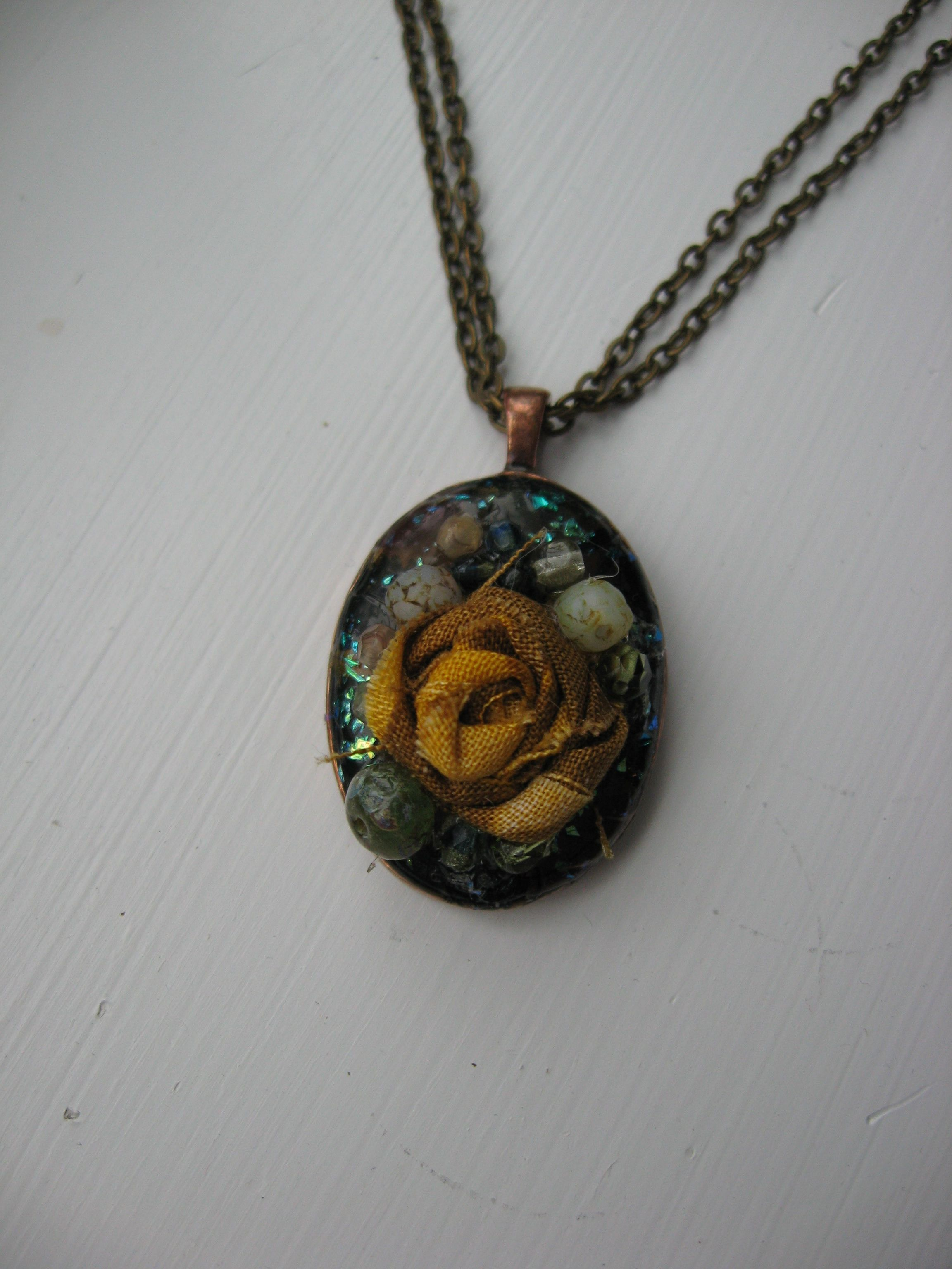 Fabric rose with beads