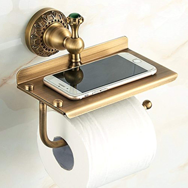 Zhen Guo Antique Euro Style Brass Toilet Paper Roll Holder With Phone Storage Shelf Bathroom Decor Tp Bathroom Decor Storage Shelves Toilet Paper Roll Holder