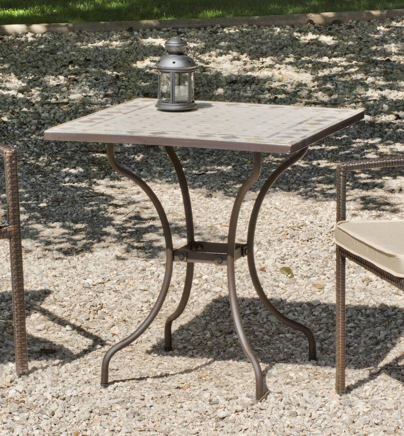 Mesa cuadrada de acero forjado color bronce, con tablero mosaico ...