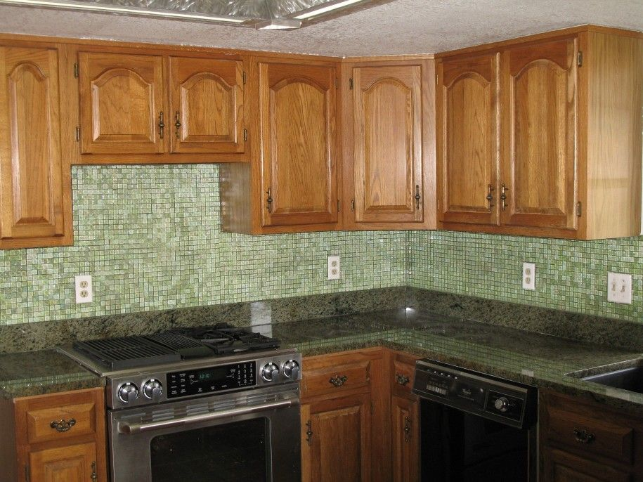 Beautiful Tile Backsplash Ideas: Green Glass Tile Backsplash Ideas Modern Kitchen Solid Wood Cupboard ~ sabpa.com Kitchen Designs Inspiration