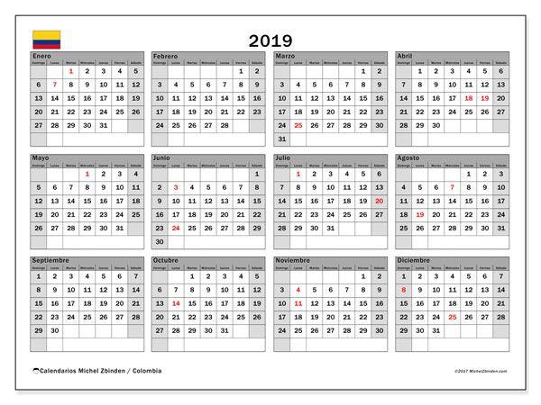 Calendario Con Semanas 2019 Para Imprimir.Almanaque 2019 Colombia Vapha Kaptanband Co