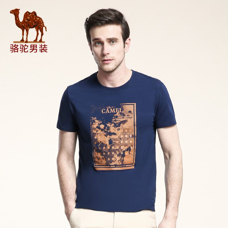 Camel men's clothing 2016 print o-neck tee shirt solid color slim cotton casual short-sleeve shirt T-shirt male 2016