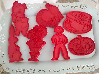 Vtg 7 Tupperware Red Plastic Cookie Pastry Cutters Xmas Pumpkin Santa Tree Boy