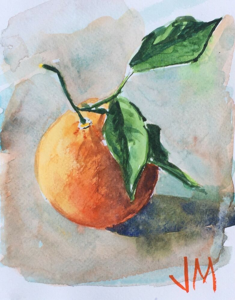 Watercolor Painting Original Fresh Orange 5 1 2 X 7 Ebay