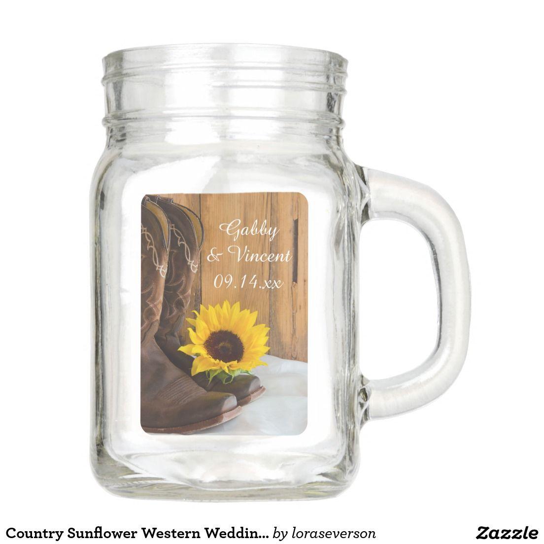 Country Sunflower Western Wedding Favor Mason Jar | Sunflowers ...