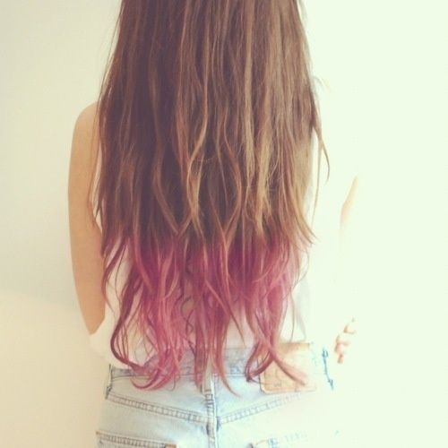 Brown Long Curly Hair With Pink Tips I Think This Is Something My Mother Might Actually Let Me Do Colored Hair Gel Dip Dye Hair Dipped Hair