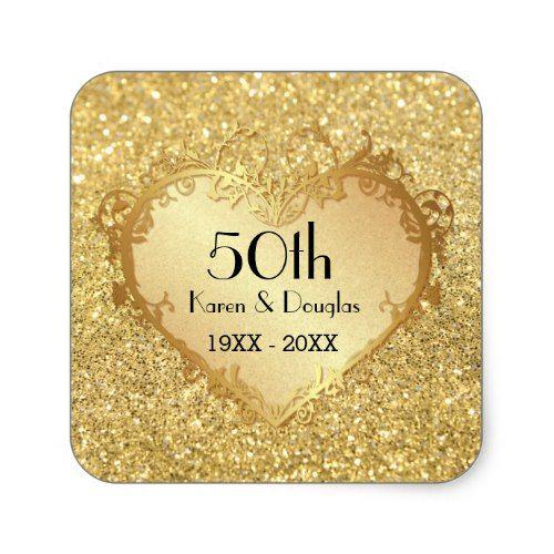 Sparkle Gold Heart 50th Wedding Anniversary Square Sticker
