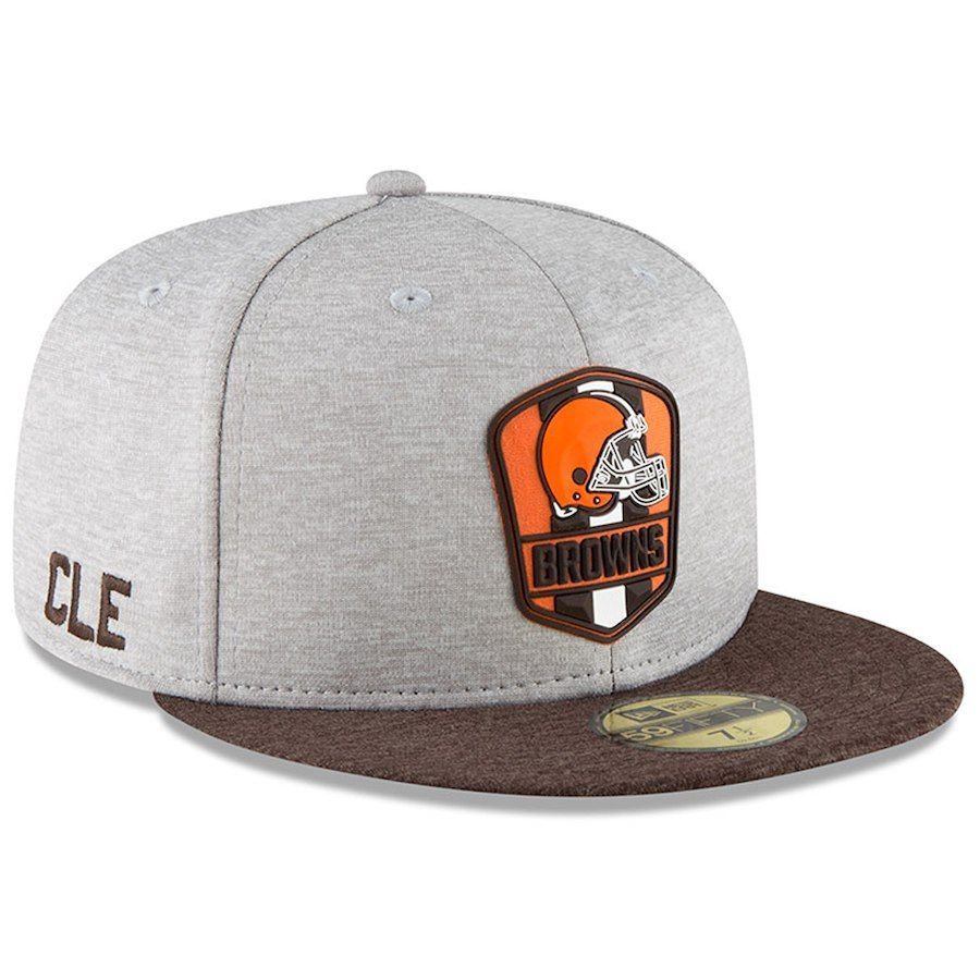 7a8fb4d3fc8dbf Men's Cleveland Browns New Era Heather Gray/Brown 2018 NFL Sideline Road  Official 59FIFTY Fitted Hat, Your Price: $37.99