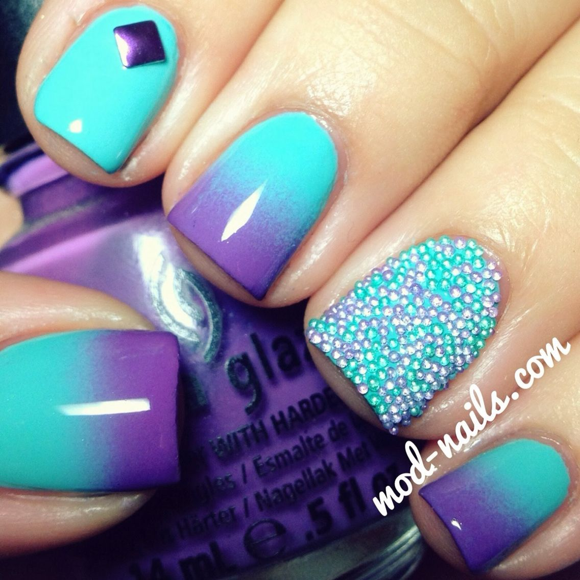 Purple And Aqua Ombre Plus Beads Nails Ombre Nails Diy Nails