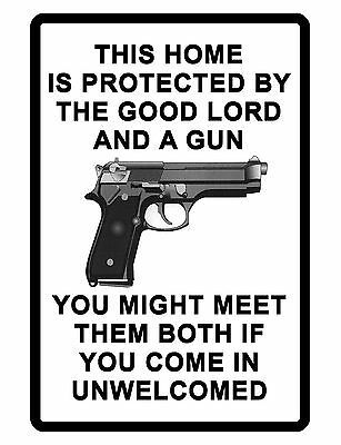 NO TRESPASSING Sign Gun and God DURABLE ALUMINUM SIGN NO SOLICITING SIGN #03622 | eBay