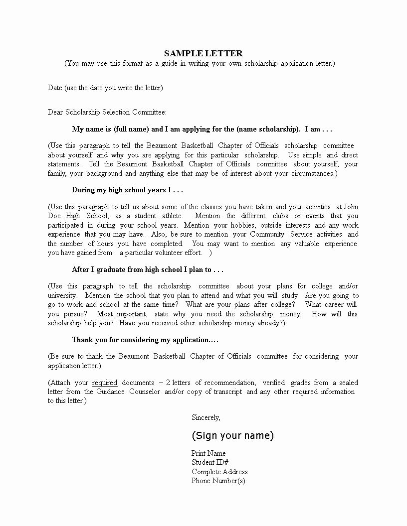 Sample Scholarship Application Letter Luxury College Scholarship Application Letter Sampl Application Letters Scholarships Application Scholarships For College