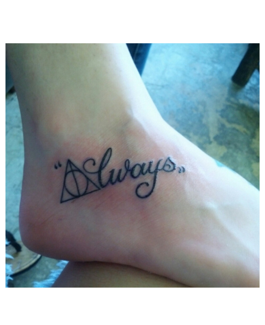Always Deathly Hallows Tattoo On Ankle Ankle Tattoo Always Tattoo Tattoos