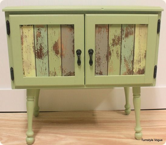 add legs to a small cabinet for a cute table.