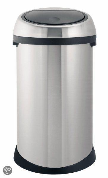 Brabantia Touch Bin Rvs.Afvalverzamelaar 50 Liter Touch Bin Matt Steel Fingerprint Proof