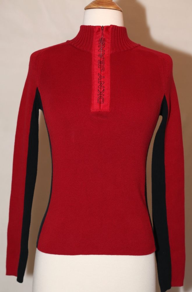DKNY JEANS Zip Up Fitted Sweater Jacket Womens XS Red Donna Karen ...