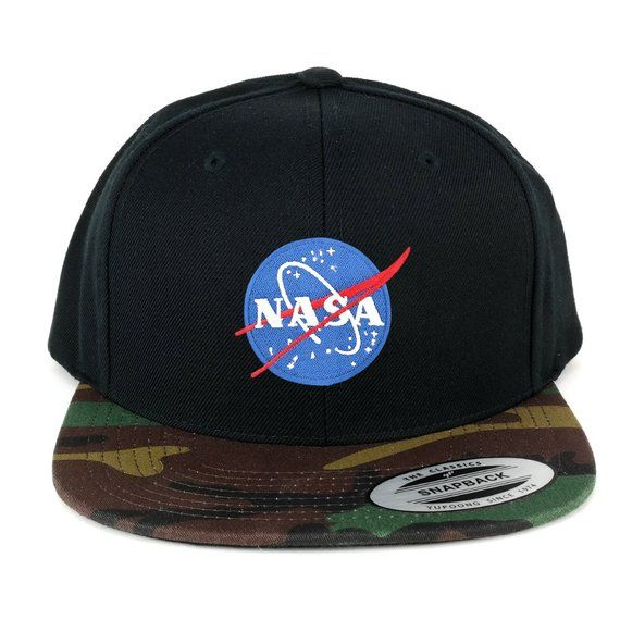 8163b88bb FLEXFIT NASA Small Insignia Space Embroidered Patch Snapback Cap ...