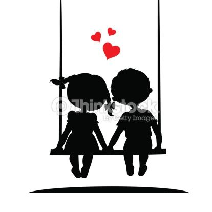 Arte vectorial : Silhouettes of a boy and girl