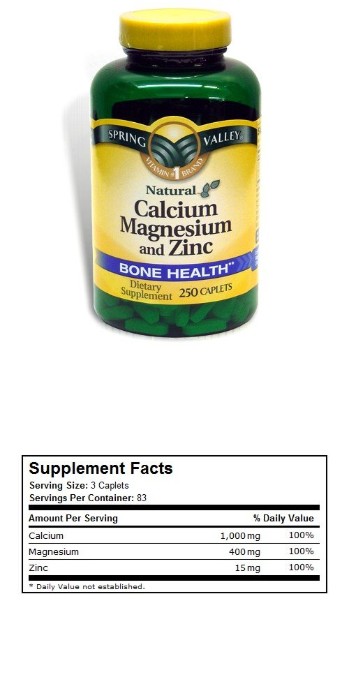 Spring Valley Calcium Magnesium and Zinc, 250 Caplets