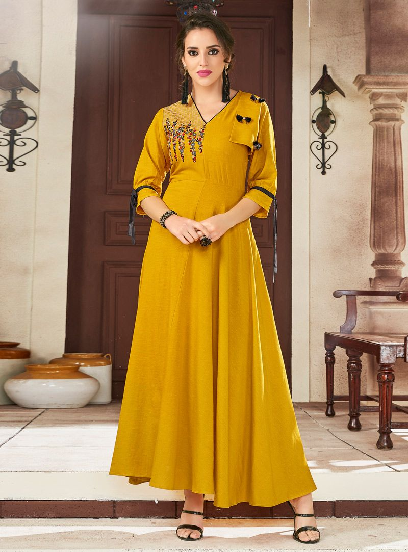9d6f3bdd21 Shop Mustard Viscose Readymade Long Kurti 148507 online at best price from  vast collection of designer kurti at Indianclothstore.com.