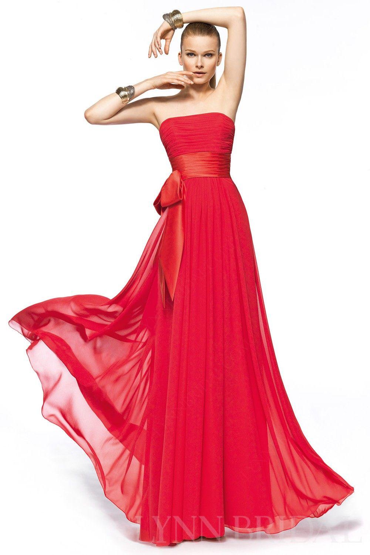 Red a line strapless floor length chiffon long bridesmaid dress