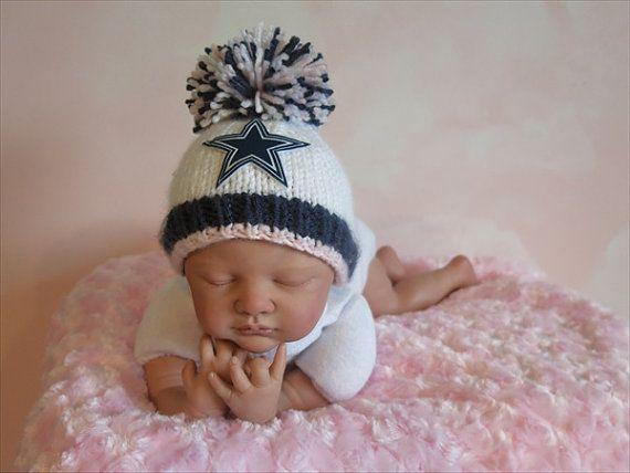 Dallas Cowboys Baby GIRL Beanie Hat in Stark White 337ede334