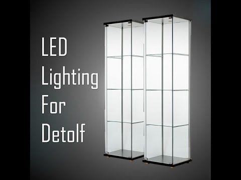 Ikea Detolf Led Lighting Youtube Ikea Glass Cabinet Glass