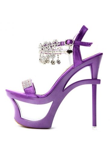 c08fb3b5c7fe Kvoll Hollow Platform Diamante Purple PU Stiletto Heel Sandals on sale only  US 26.79 now