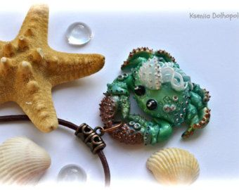Polymer clay pendant with turquoise fish jewelry by Polyclaydesign