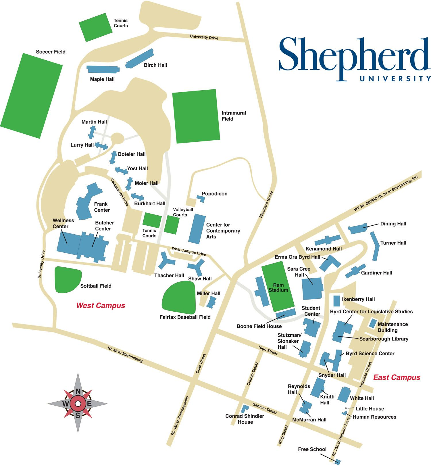 Shepherd University Campus Map Shepherd University Campus Map