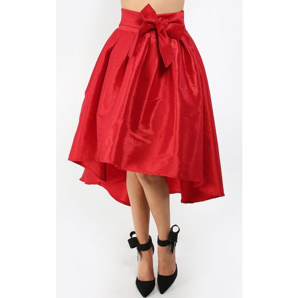 e37de99f2838 Sweet Bow High Low Taffeta Skirt ($33) ❤ liked on Polyvore featuring skirts,