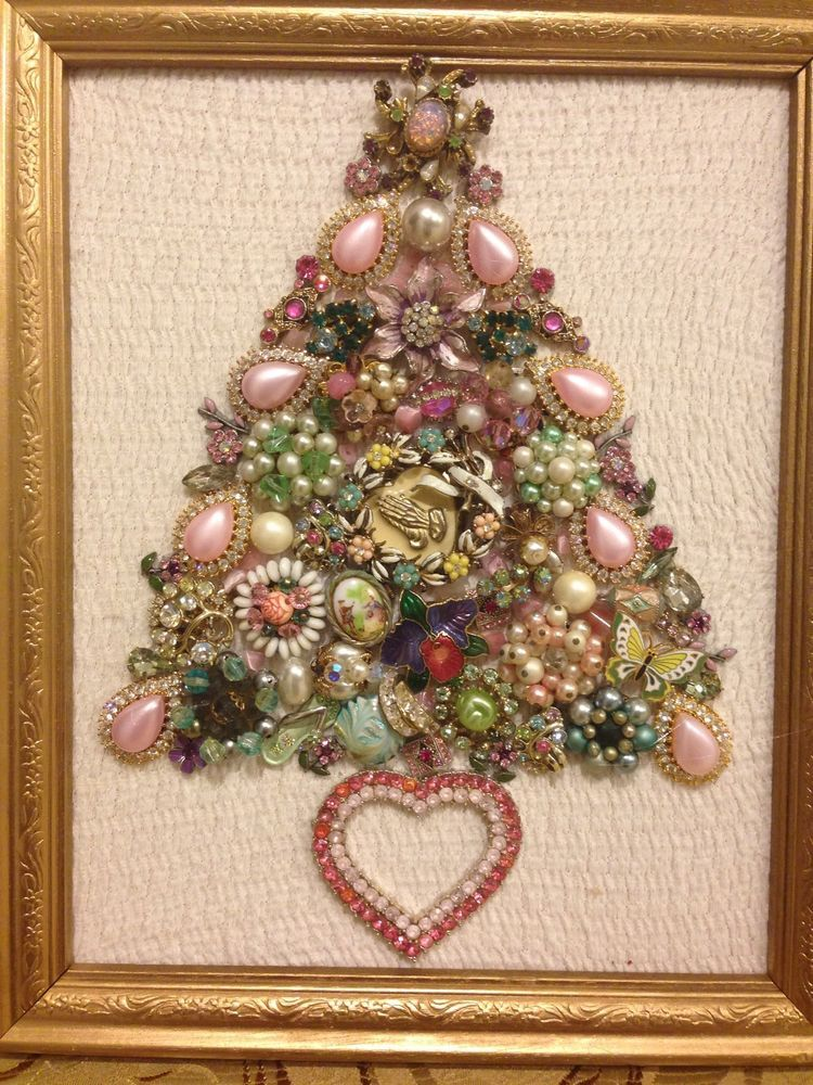 Large Vintage Jewelry Christmas Tree framed Size 9x11 Pink Green ...