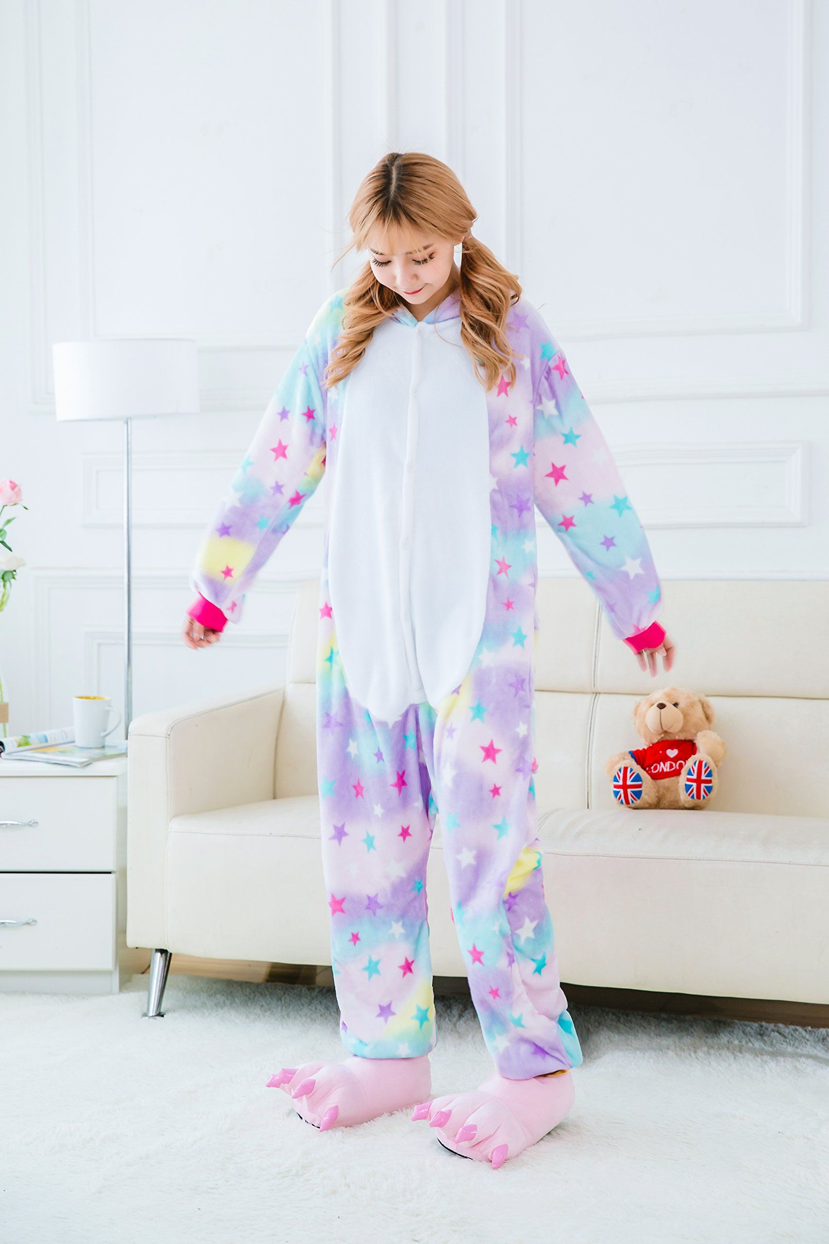 Yutown Adult Unicorn Pajamas Animal Costume Cosplay Onesie Halloween ... d8229ba5a