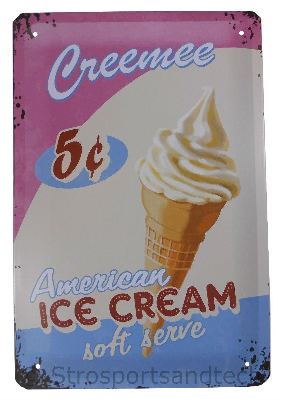 Ice cream tin sign diner cafe garage wall decor retro metal bar art