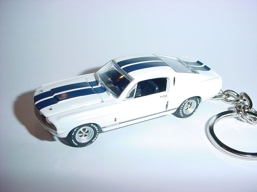 White 3d 1967 Ford Mustang Shelby Gt500 Custom Keychain Keyring 67