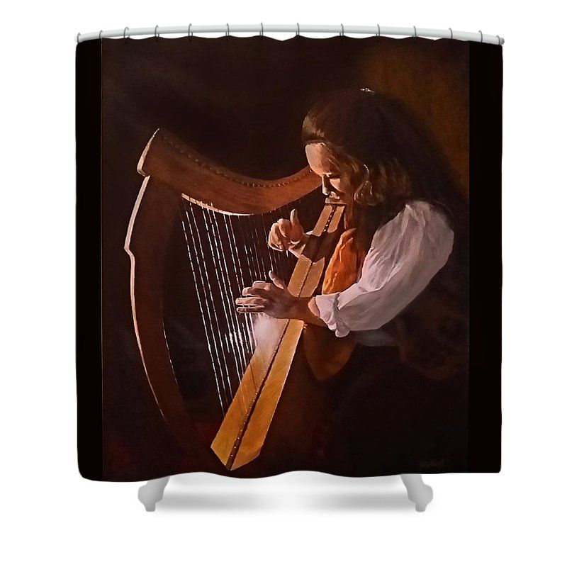"""Irish Harp"" shower curtain for sale! Your choice of colors."