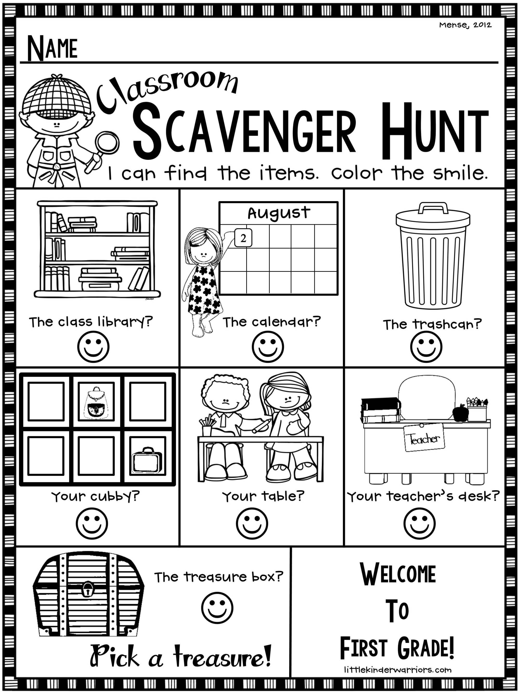Open House Scavenger Hunt Freebie For First Grade