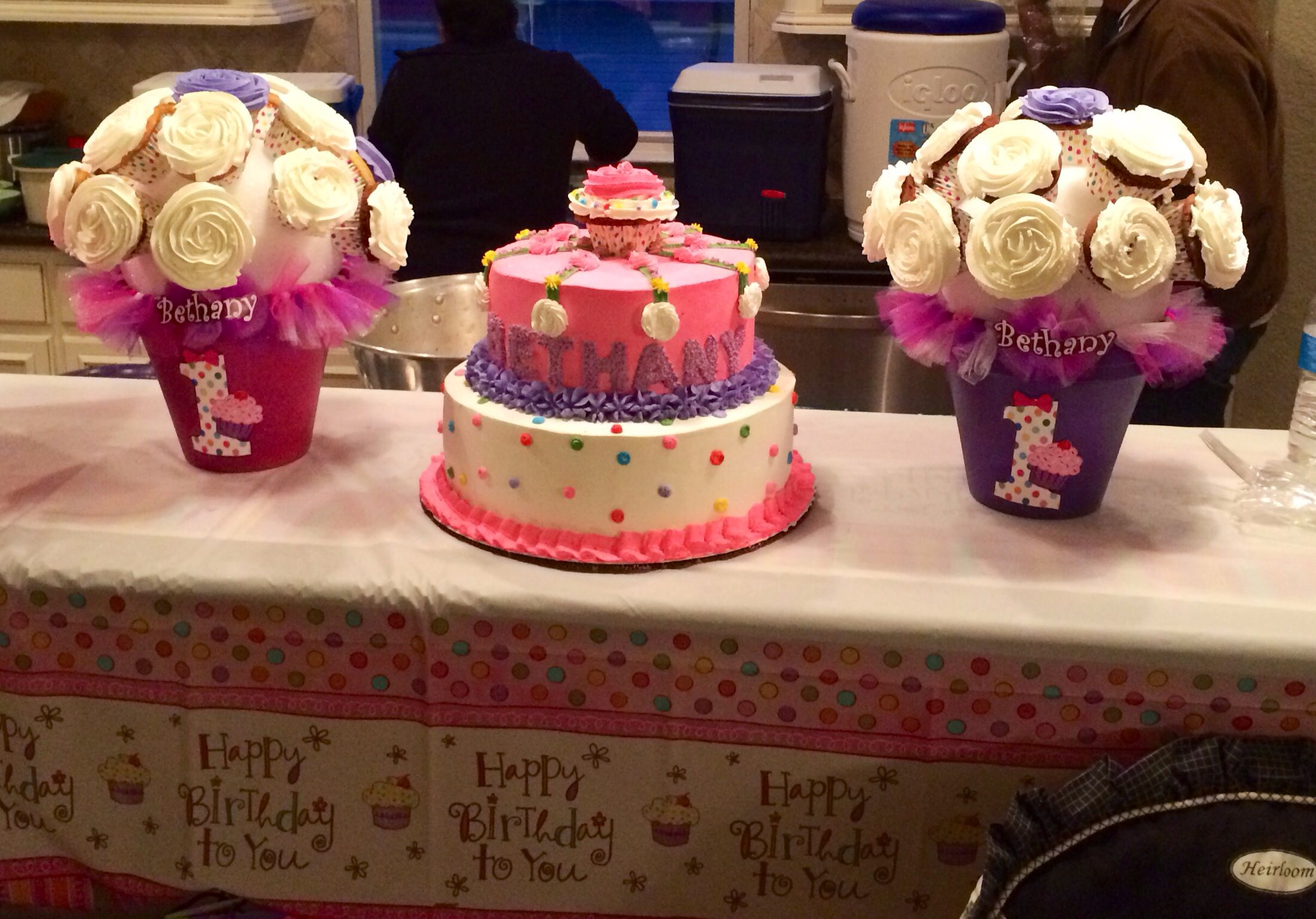 Birthday Cake For Little Sister ~ Cupcake themed 1st birthday cake by my sister marta. i made the