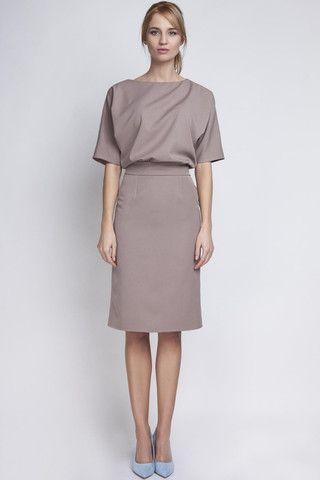 1/2 Sleeves Dress With Beige Stylish Pencil Dress LAVELIQ