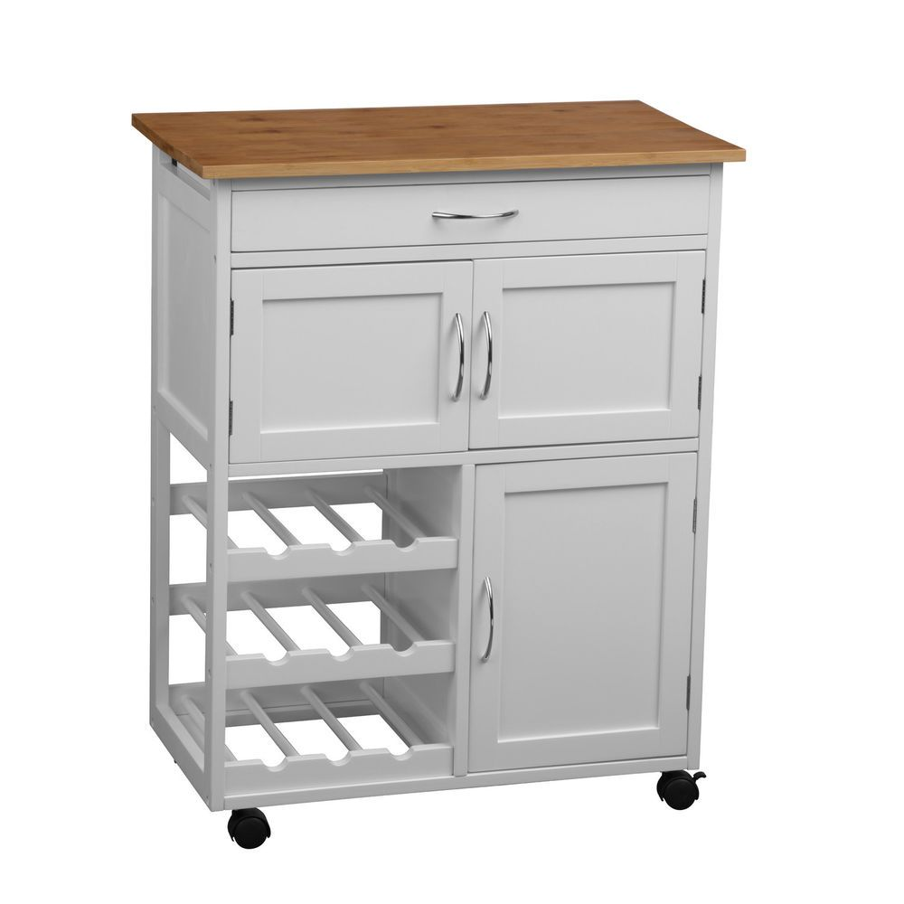 Kitchen Islands And Carts Furniture 84cm Portable Kitchen Trolley Island Cart Food Prep Storage Unit