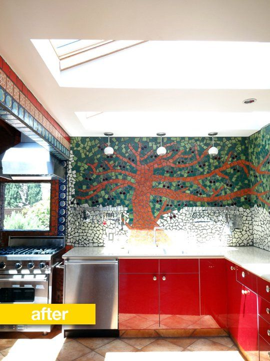 Kitchen Before After A 1950s Kitchen Transformed By Mosaic Tiles 1950s Kitchen Kitchen Remodel Mosaic Tiles